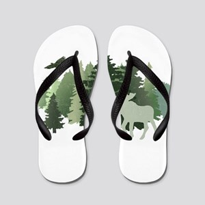 Moose in the Forest Flip Flops
