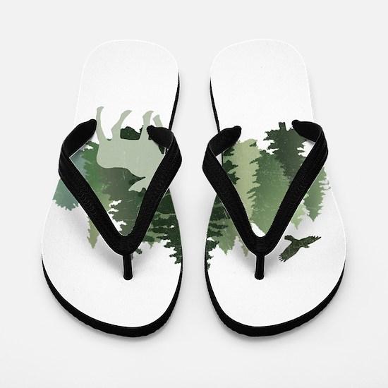 Moose in the Forest Flip Flops