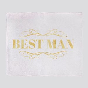 Bridal Party Best Man in Gold Throw Blanket