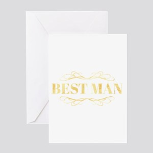 Bridal Party Best Man in Gold Greeting Cards