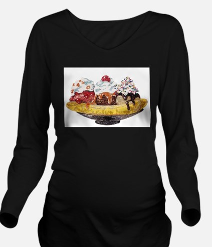 Glitter Banana Split Long Sleeve Maternity T-Shirt