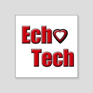 "Ech(Heart) Red White Square Sticker 3"" x 3"""