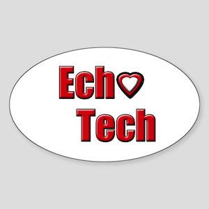 Ech(Heart) Red White Sticker (Oval)