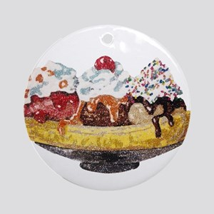 Glitter Banana Split Round Ornament
