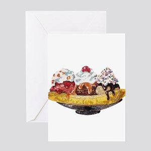 Glitter Banana Split Greeting Cards
