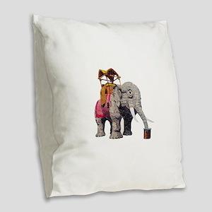 Glitter Lucy the Elephant Burlap Throw Pillow
