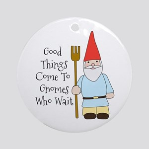 Gnome Saying Round Ornament