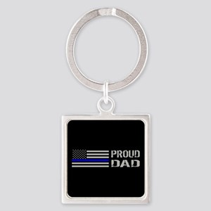 Police: Proud Dad Square Keychain
