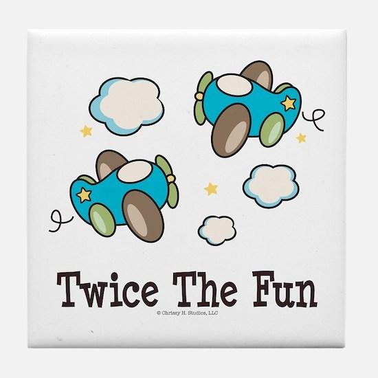 Fun Twin Boys Airplane Tile Coaster