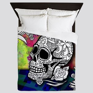 Sugar Skulls Color Splash Designs #WIT Queen Duvet