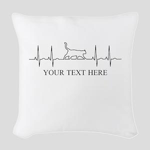 Custom Text Cat Lover Woven Throw Pillow