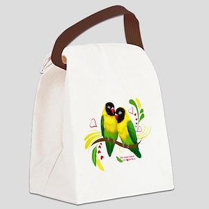Black Masked Lovebirds Canvas Lunch Bag