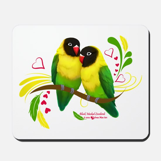 Black Masked Lovebirds Mousepad