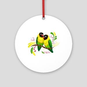 Black Masked Lovebirds Round Ornament