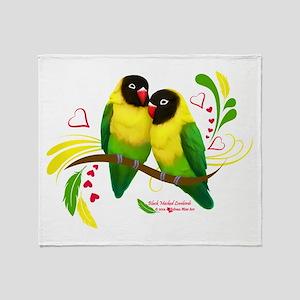 Black Masked Lovebirds Throw Blanket
