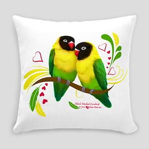 Black Masked Lovebirds Everyday Pillow