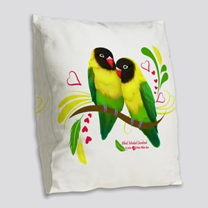Black Masked Lovebirds Burlap Throw Pillow