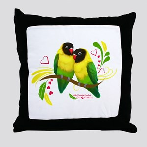 Black Masked Lovebirds Throw Pillow