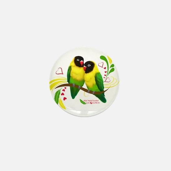 Black Masked Lovebirds Mini Button