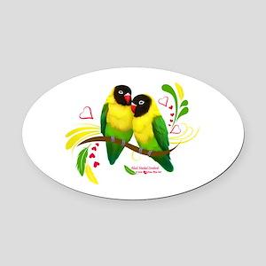 Black Masked Lovebirds Oval Car Magnet