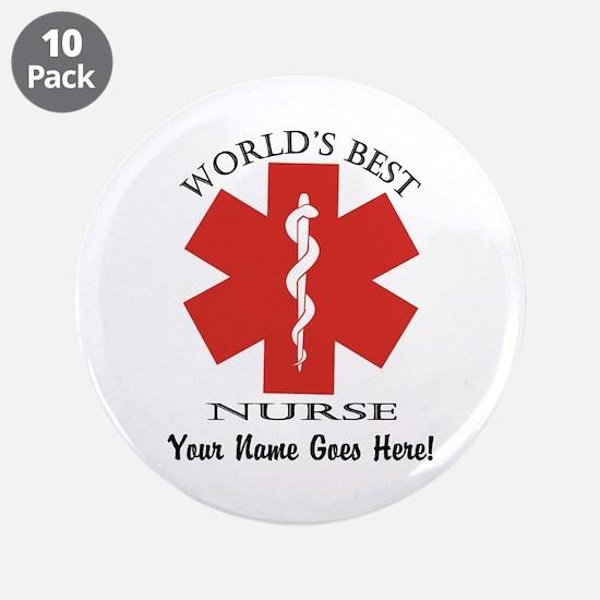 """Worlds Best Nurse 3.5"""" Button (10 Pack)"""