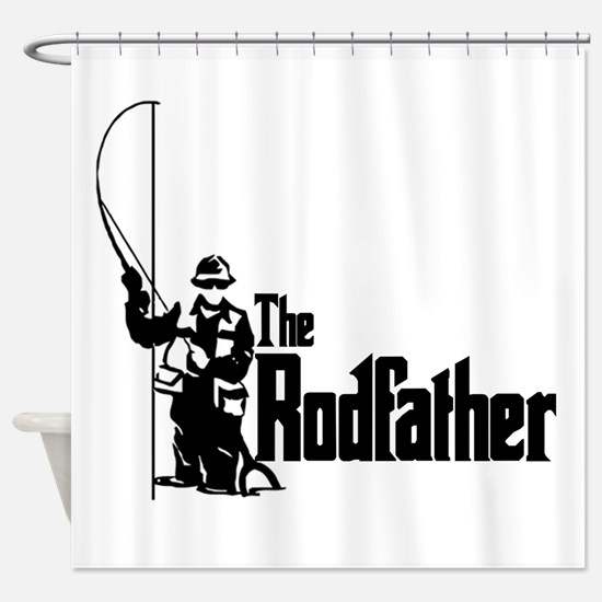 The Rodfather Fun Fishing Quote for him Shower Cur