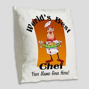 Worlds Best Chef Burlap Throw Pillow