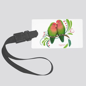 Peach Faced Lovebirds Large Luggage Tag