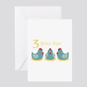 3 French Hen Greeting Cards