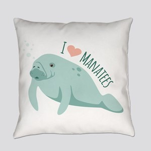I love Manatees Everyday Pillow