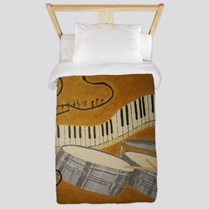 salsa painting with timbales and piano Twin Duvet