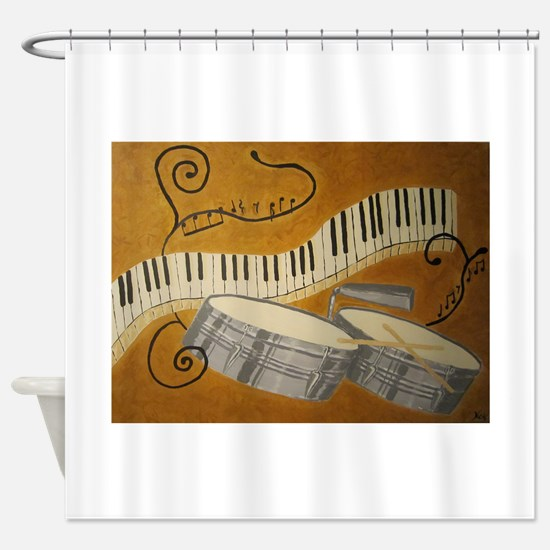 salsa painting with timbales and pi Shower Curtain