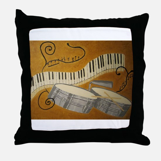 salsa painting with timbales and pian Throw Pillow