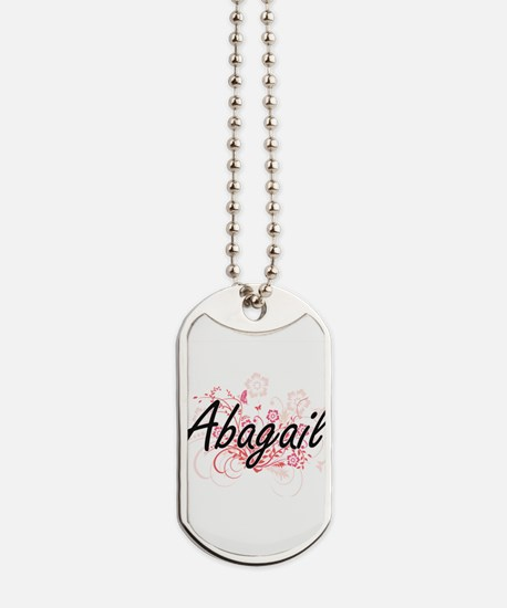 Abagail Artistic Name Design with Flowers Dog Tags