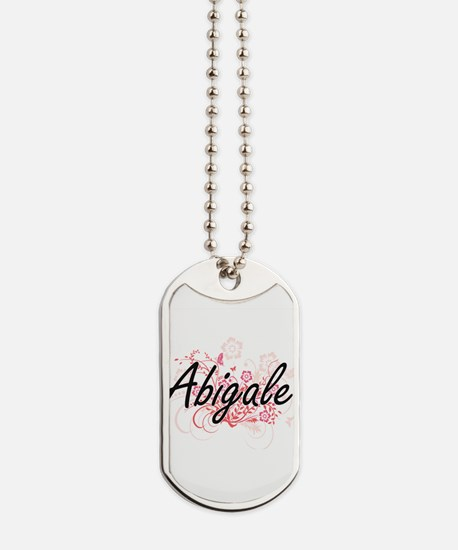 Abigale Artistic Name Design with Flowers Dog Tags