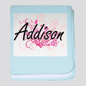 Addison Artistic Name Design with Flo baby blanket