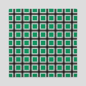 Jade Green Plaid Pattern Queen Duvet