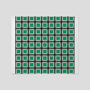 Jade Green Plaid Pattern Throw Blanket
