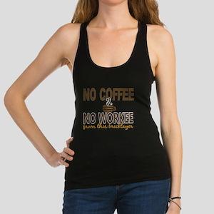 -Bricklayer No Coffee No Workee Racerback Tank Top
