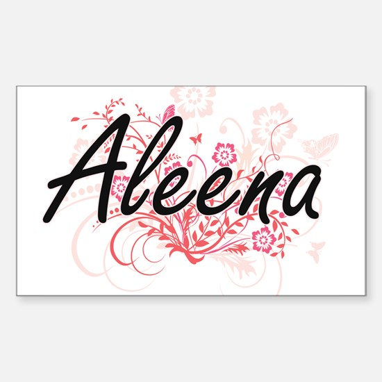 Aleena Artistic Name Design with Flowers Decal