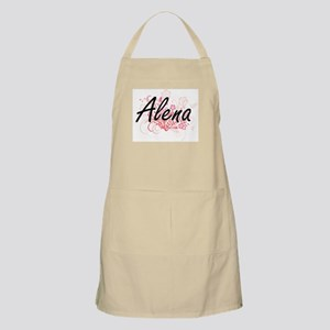 Alena Artistic Name Design with Flowers Apron