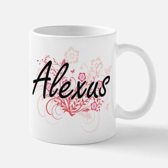 Alexus Artistic Name Design with Flowers Mugs