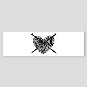 Knitting Heart Bumper Sticker