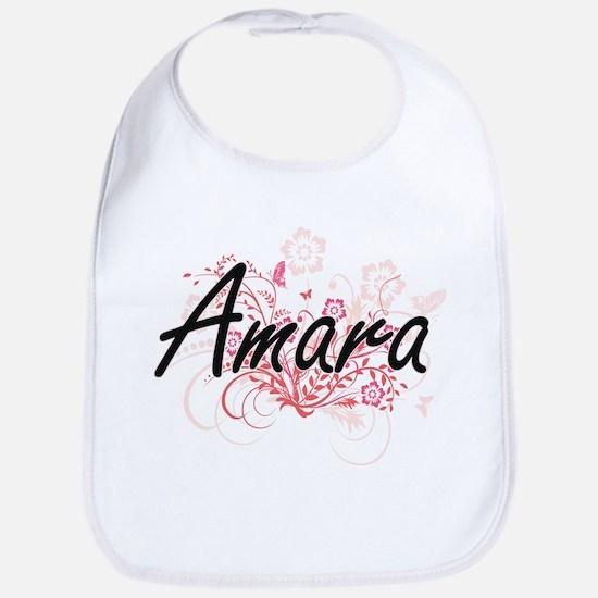 Amara Artistic Name Design with Flowers Bib