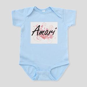 Amari Artistic Name Design with Flowers Body Suit