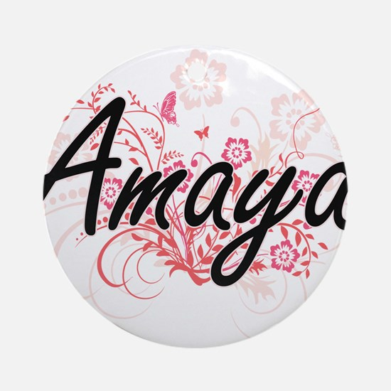 Amaya Artistic Name Design with Flo Round Ornament