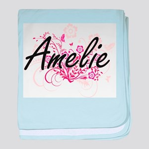 Amelie Artistic Name Design with Flow baby blanket
