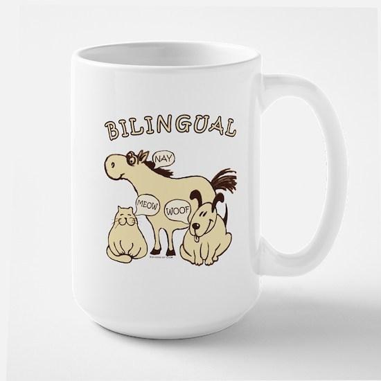 Bilingual, horse, cat, dog. Large Mug
