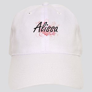 Alissa Artistic Name Design with Flowers Cap