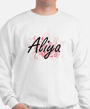 Aliya Artistic Name Design with Flowers Sweater